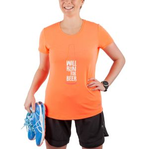T-shirt tricot à manches courtes avec graphique — « WILL RUN FOR BEER »